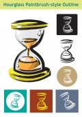 Hourglass Icon Strokes and colored Paintbrush style colored  vector EPS10 Editable Clip Art