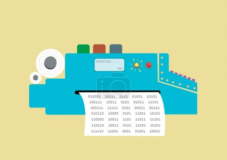 Retro Printer Typewriter Flat Concept. EPS10 Editable Clip art.