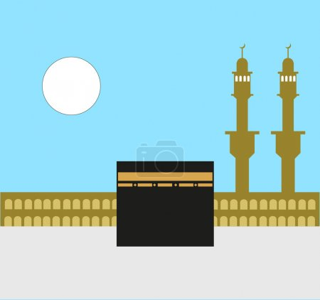 Islamic Holy Kaaba in Makkah. EPS10 Editable Clip Art.