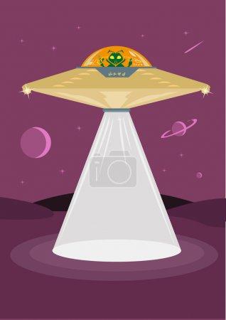 Strange Alien Pilots a Flying Saucer. EPS10 Editable Clip Art.