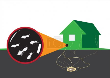 Termite attacks home from underground. Editable Clip Art.