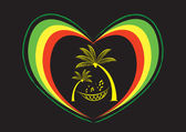 Reggae Heart and Palm Trees with Musical Note Editable Clip Art