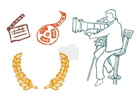 Illustration pour Icônes de la réalisation de films à main levée . - image libre de droit