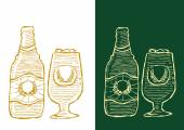 Beer bottle and glass freehand drawing in outlines on white and reversed option on dark background