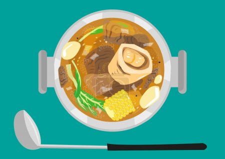 Illustration for Top view of the popular soup dish of Filipinos called Bulalo  made of marrow bones and vegetables - Royalty Free Image