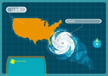 Illustration for Seasonal Atlantic Tropical Hurricane moving to the USA. - Royalty Free Image