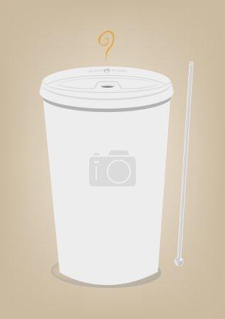 Coffee on a Styrofoam material cup. Editable CLip art.