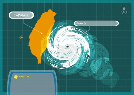 Illustration for Taiwan Map with Eye of Typhoon, Cyclone or Storm Vector. Editable Clip Art. - Royalty Free Image