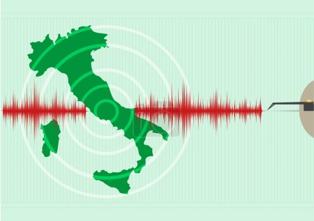 Illustration for Italy Map Earthquake Vector - Royalty Free Image