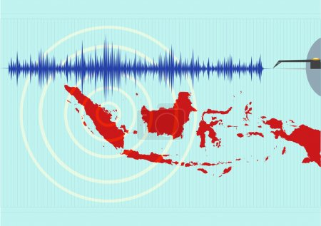 Illustration for Map of Indonesia with seismic signal and Earthquake epicenter - Royalty Free Image