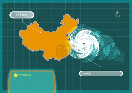 Illustration for China Map with Eye of Typhoon, Cyclone or Storm Vector. Editable Clip Art. - Royalty Free Image