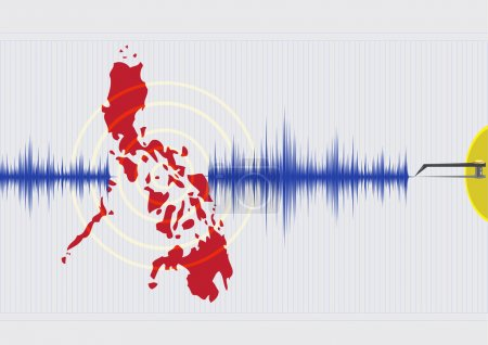 Illustration for Philippine Islands Earthquake Concept  Vector EPS10. Editable Clip Art. - Royalty Free Image