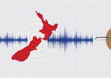 Illustration for New Zealand Earthquake Concept  Vector EPS10. Editorial Clip Art. - Royalty Free Image