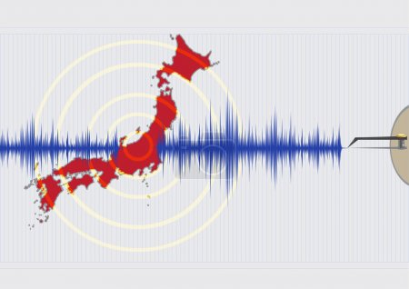 Illustration for Japan Earthquake Concept Editable Vector EPS10. Japan is located in the Pacific Ring of Fire. - Royalty Free Image