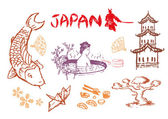 Hand drawn Japanese cultures and icons in EPS10 illustration