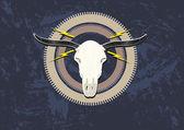 Steampunk centerpiece made of bulls head gears and lightning Editable Clip Art