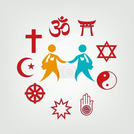 Photo for Religious symbols surrounding two persons. - Royalty Free Image