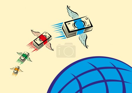 Flying Money over a Blue Globe. Remittance Transfer concept. Editable Clip Art.