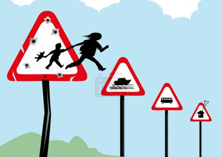 Refugees escaping their war torn country and risking lives to seek asylum. Editable Clip Art.