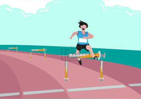 Use of Illegal Substance Just to Win in Sports Games with endurance.  Editable Clip Art.
