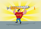 Athlete Lifts Up a Syringe. Doping Concept. Editable Clip Art.
