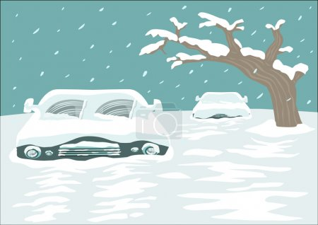 Illustration for Cold spell concept. Blizzard blankets a city with cars and streets covered with Snow. Editable Clip Art. - Royalty Free Image