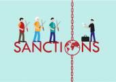 International Sanctions Concept for economic sports and political reasons Editable Clip Art