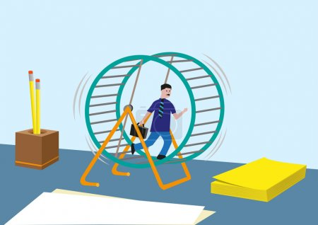 Workaholic concept and more. Businessperson or Sales Marketing Running Endless in a Hamster Wheel.