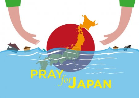 Pray for Japan concept. Offering Help during natural disasters. Editable Clip Art.
