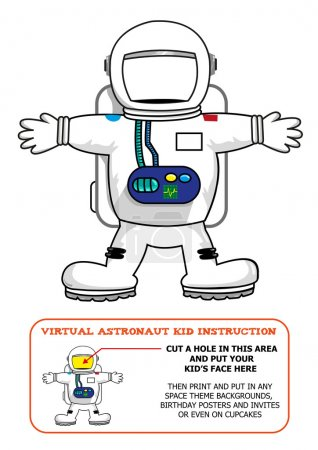 Astronaut Suit Cut Out Activity for Kids for Birthdays or Educational Games. Editable Clip Art. Put face on Astronaut's blank helmet.