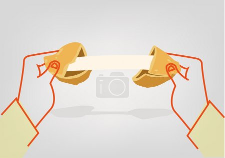 Illustration for Illustration of a Fortune Cookie with a blank paper strip for personalized message - Royalty Free Image