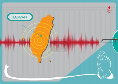 Illustration for Graphical representation of an Earthquake in Taiwan with hands praying for support - Royalty Free Image