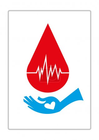 A Hand Catches a Blood. Editable Clip Art.