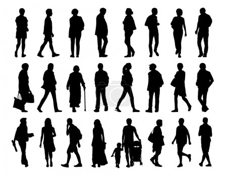 Big set of black silhouettes of men and women of d...