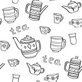 Seamless vector background with contour teapot and cups Black and white pattern with the word