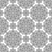 Seamless vector black and white background Oriental ornament of mandalas Medieval pattern of round elements Template for the carpet