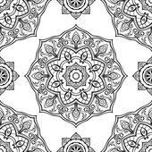 Seamless vector black and white background Oriental ornament of mandalas Medieval pattern of circular elements Template for the textile