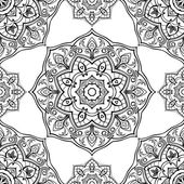 Seamless vector black and white background Oriental ornament of mandalas Medieval pattern of circular elements Template for the textile Thin ornament for embroidery