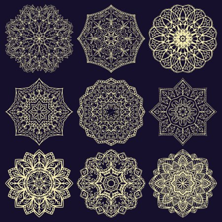 Illustration for Template for embroidery. Set of mandalas. Collection of stylized stars and snowflakes on a blue background. Vector round ethnic ornaments. Sketches for tattoo. Architectural decorative details. - Royalty Free Image