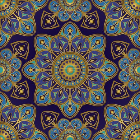 Illustration for Seamless vector bright pattern of mandalas. Oriental ornament with gold contour on a dark blue background. Colorful template for textiles, shawls, carpets, bedspreads, wallpaper, cushions. - Royalty Free Image