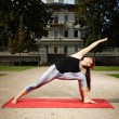 Muscular and strong yoga woman trainee exercising ...