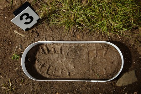 Photo for Crime scene investigation - collecting of trasology evidence footprint - Royalty Free Image