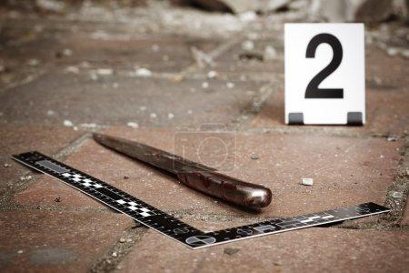 Bloody knife - crime scene investigation
