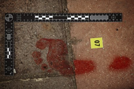 Photo for Crime scene investigation - collecting of blood stains - Royalty Free Image