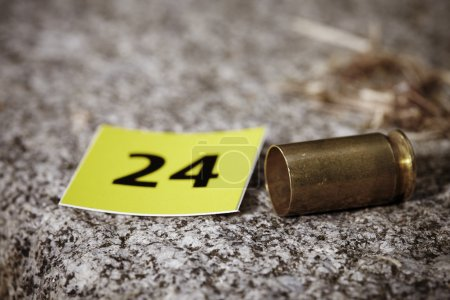 Photo for Crime scene investigation - cartridge as evidence - Royalty Free Image
