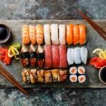 Постер, плакат: Sushi Set nigiri and sushi rolls