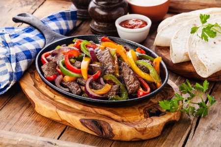Beef Fajitas with colorful bell peppers
