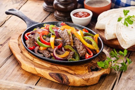 Beef Fajitas with  bell peppers