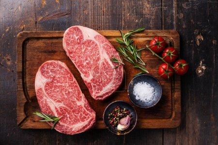 Raw Black Angus Steaks Ribeye