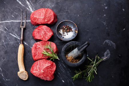 Raw fresh marbled meat Steaks